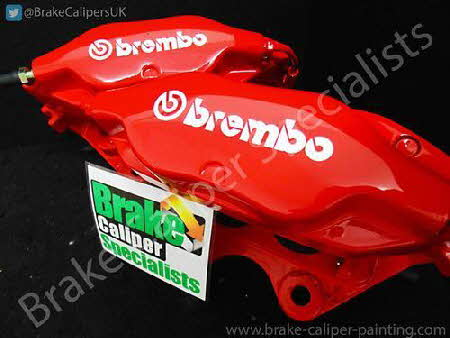 brembo calipers after red brake caliper paint applied