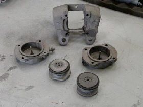 Jaguar Mk2 brake calipers dismantled
