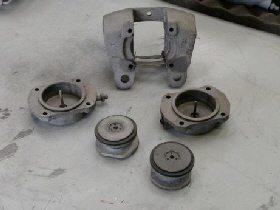 Jaguar Mk2 brake calipers dismantled