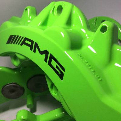 6 piston AMG brake caliper painted in Kawasaki Green