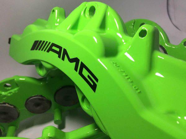 6 piston AMG brake caliper painted in Kawasaki Green