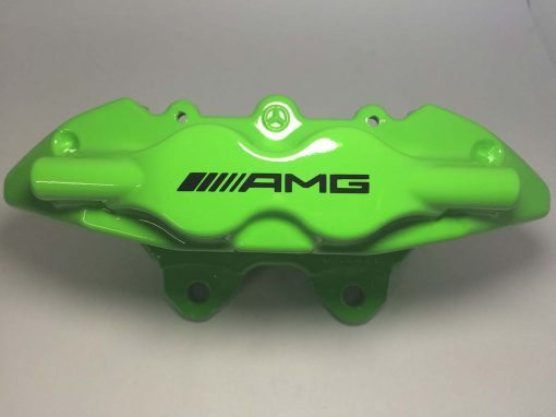 4 piston AMG brake caliper painted in Kawasaki Green