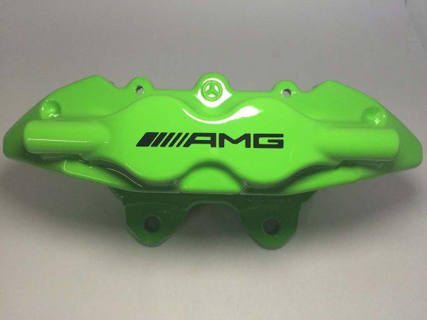 4 piston AMG brake caliper painted in Kawasaki Green