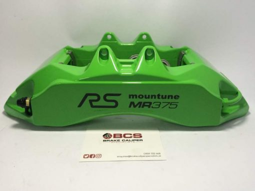 Green caliper with Black RS Mountune MR375 Brake Caliper Decals