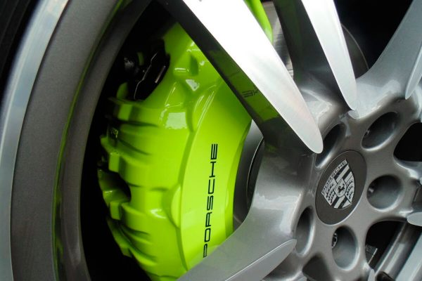 Porsche Panamera with Black Porsche Brake Caliper Decals