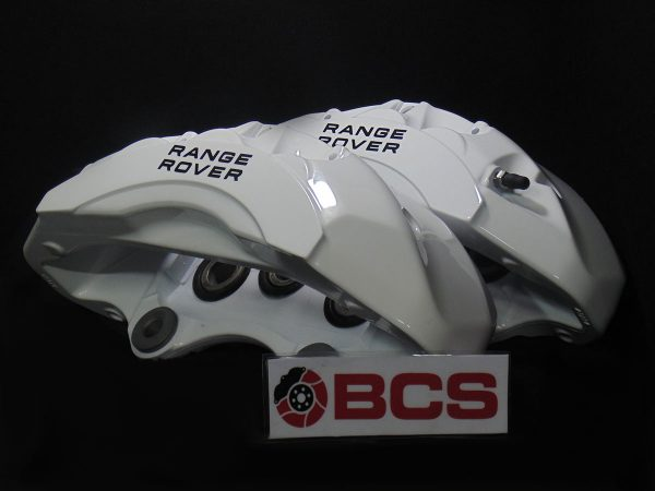 Range Rover Brake Calipers Painted in White Brake Caliper black stencils