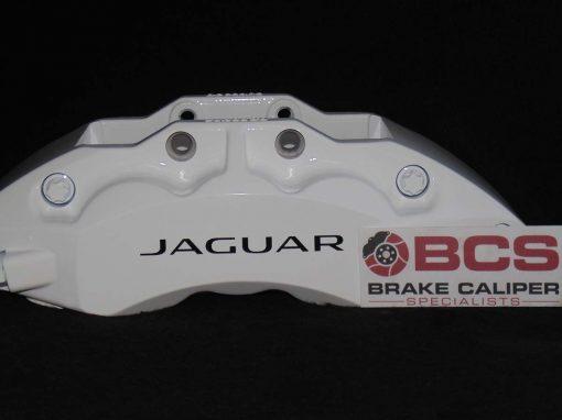 Jaguar brake calipers painted in white caliper painting kit