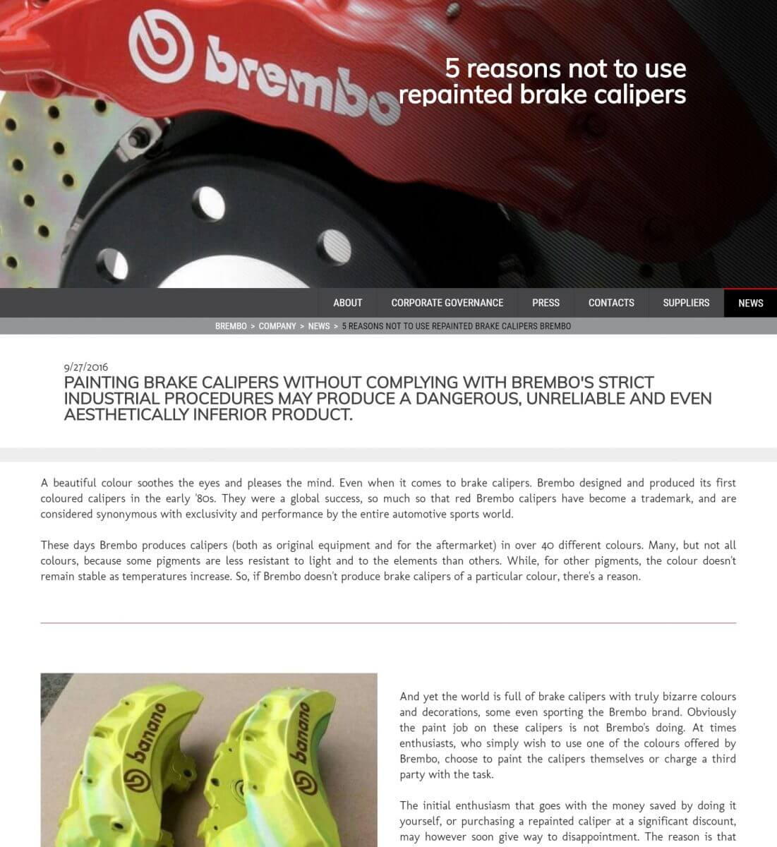 Brembo advise on painting and refurbishing brake calipers