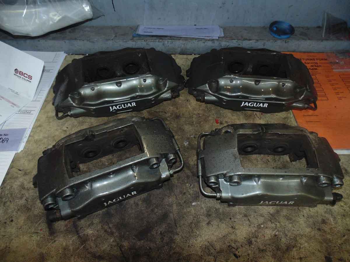 Jaguar brake calipers before painting