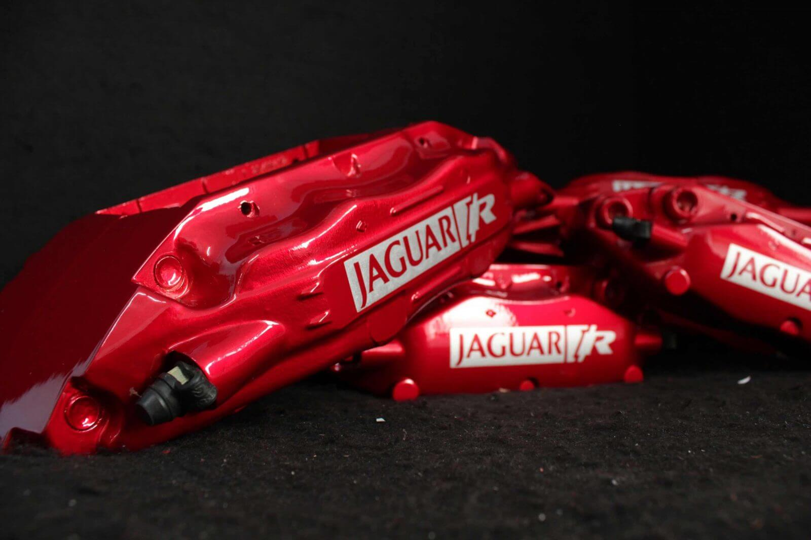 candy red jaguar brembo brake calipers painted