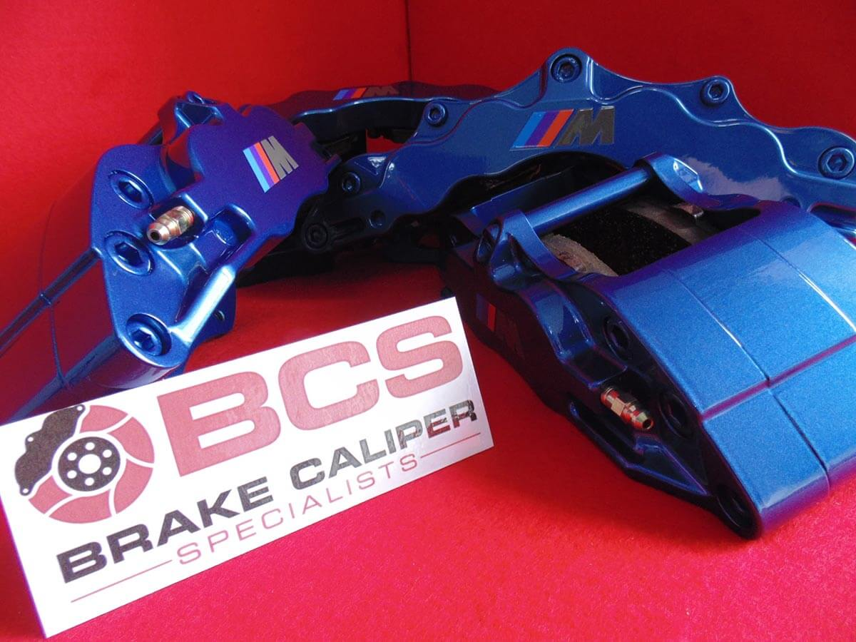 BMW X5 brake calipers painted in blue