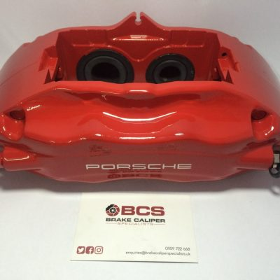 Porsche red brake caliper paint