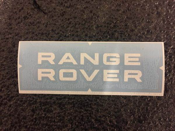 Range Rover top and bottom white decal